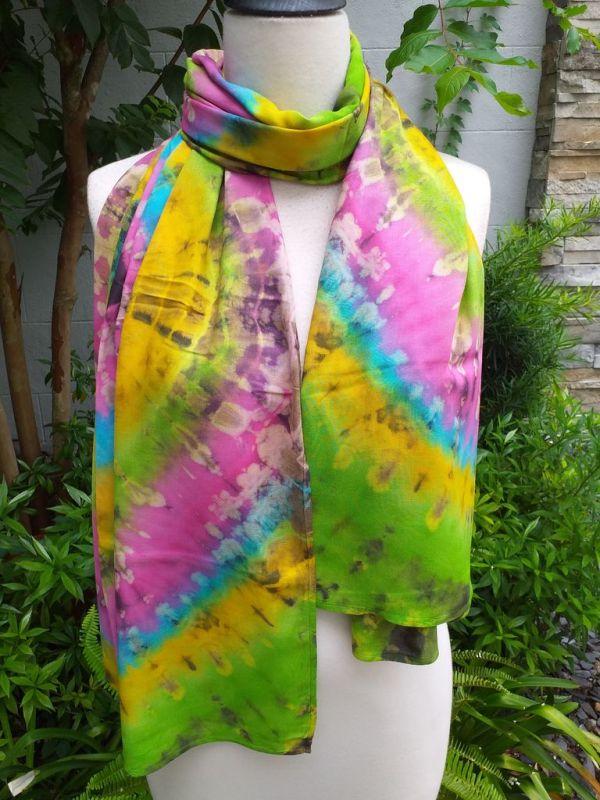 XED602b Bright Color TieDye Rayon Versatile Scarf