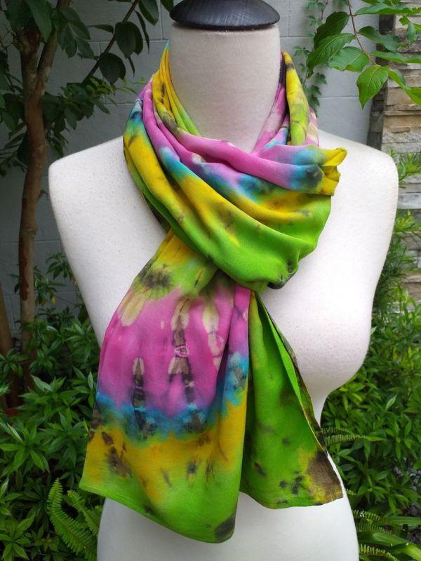 XED602c Bright Color TieDye Rayon Versatile Scarf