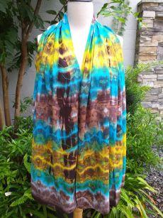 XED673a Bright Color TieDye Rayon Versatile Scarf