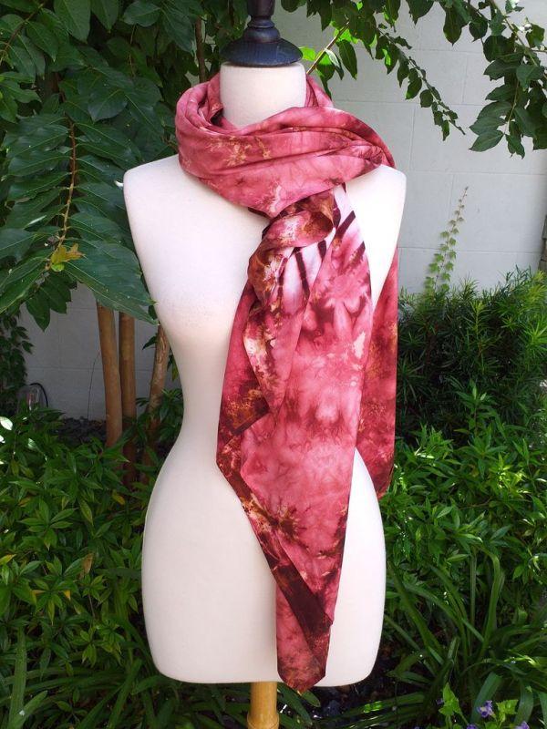 XEQ206A Rayon Scarf Hand Tie Dye Square Bright Color Hemmed Uniquel