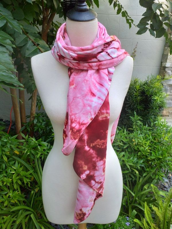 XEQ804A Rayon Scarf Hand Tie Dye Square Bright Color Hemmed Uniquel