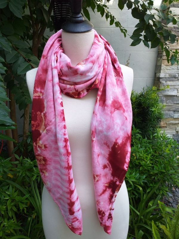 XEQ804B Rayon Scarf Hand Tie Dye Square Bright Color Hemmed Uniquel