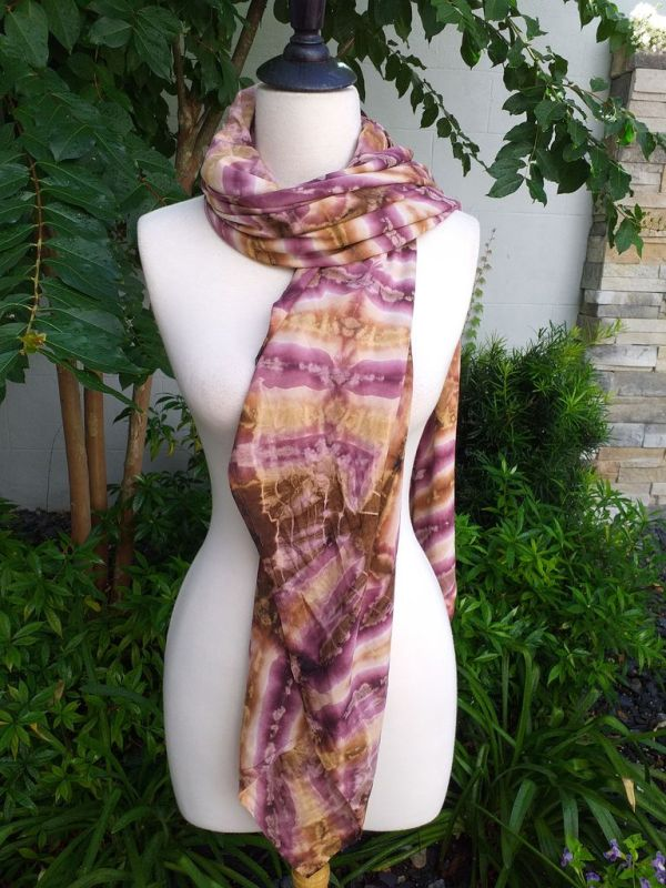 XEQ880D Rayon Scarf Hand Tie Dye Square Bright Color Hemmed Original