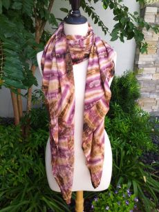 XEQ880E Rayon Scarf Hand Tie Dye Square Bright Color Hemmed Original