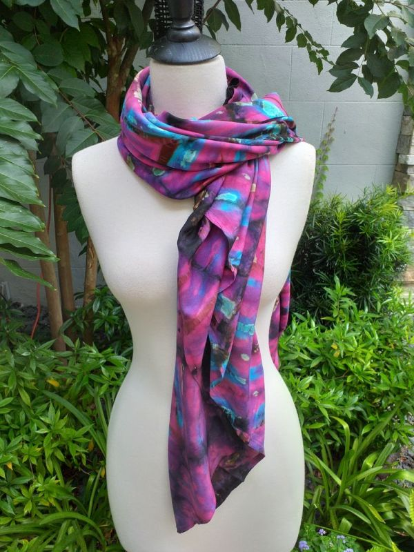 XEQ881A Rayon Scarf Hand Tie Dye Square Bright Color Hemmed Original