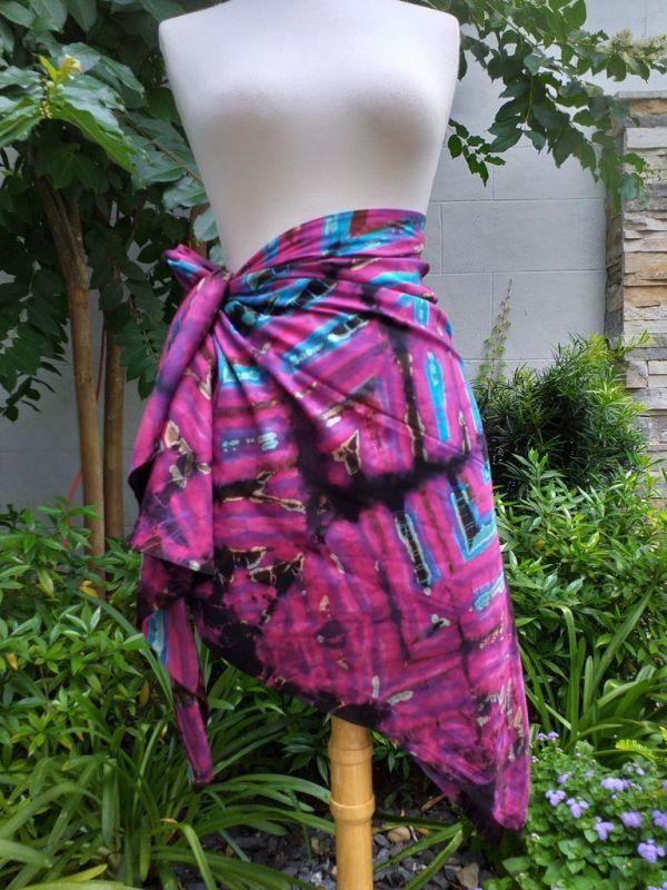 XEQ881C Rayon Scarf Hand Tie Dye Square Bright Color Hemmed Original