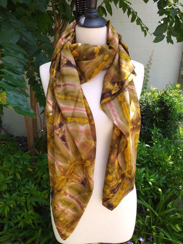 XEQ882B Rayon Scarf Hand Tie Dye Square Bright Color Unique Original