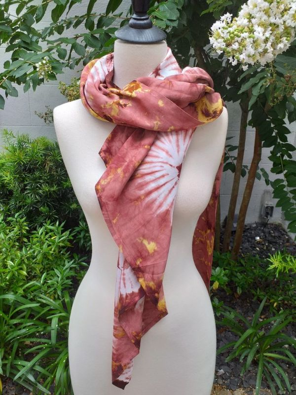 XEQ888C Rayon Scarf Hand Tie Dye Square Bright Hemmed Unique Original