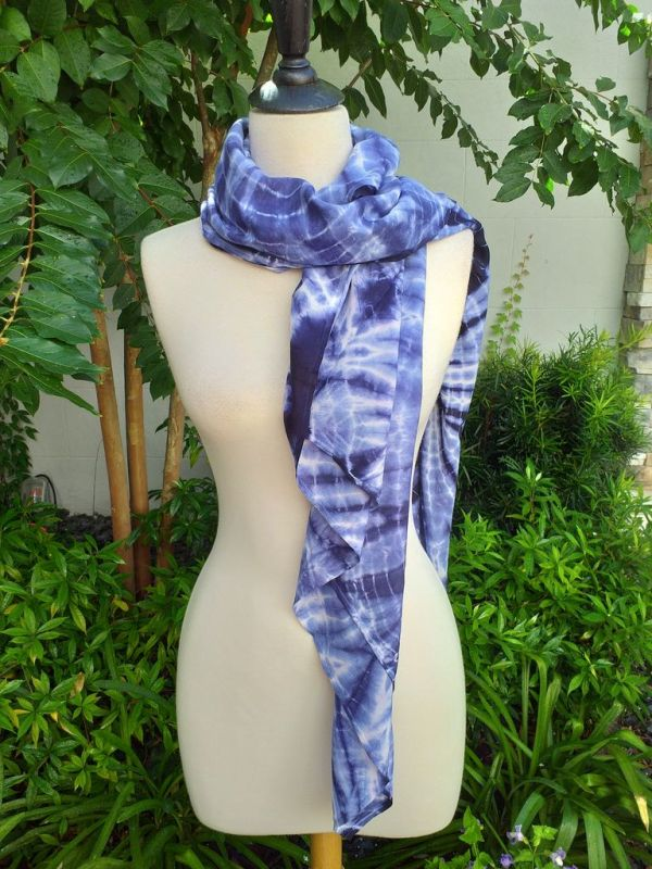 XEQ889A Rayon Scarf Hand Tie Dye Square Bright Hemmed Unique Original
