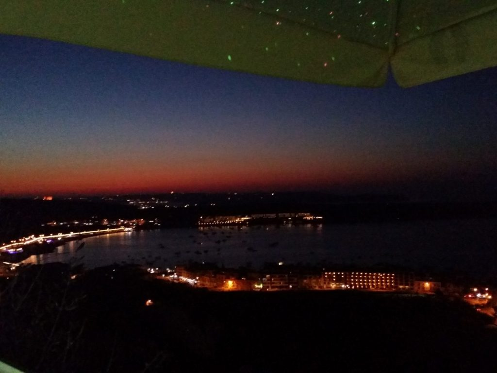 The View from Mellieha Village Cafe during sunset