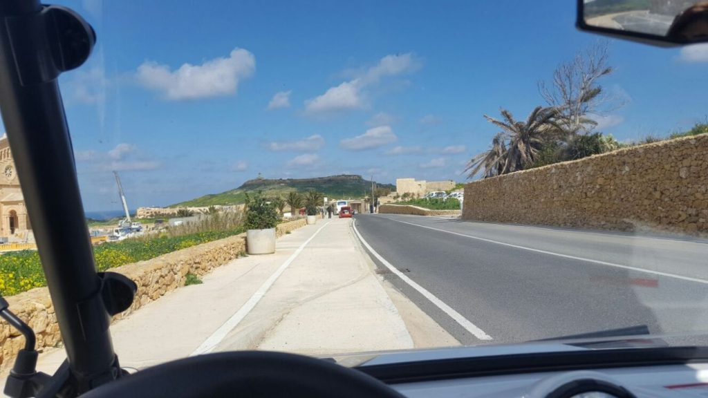 Driving along Ta' Pinu Cathedral in Gozo