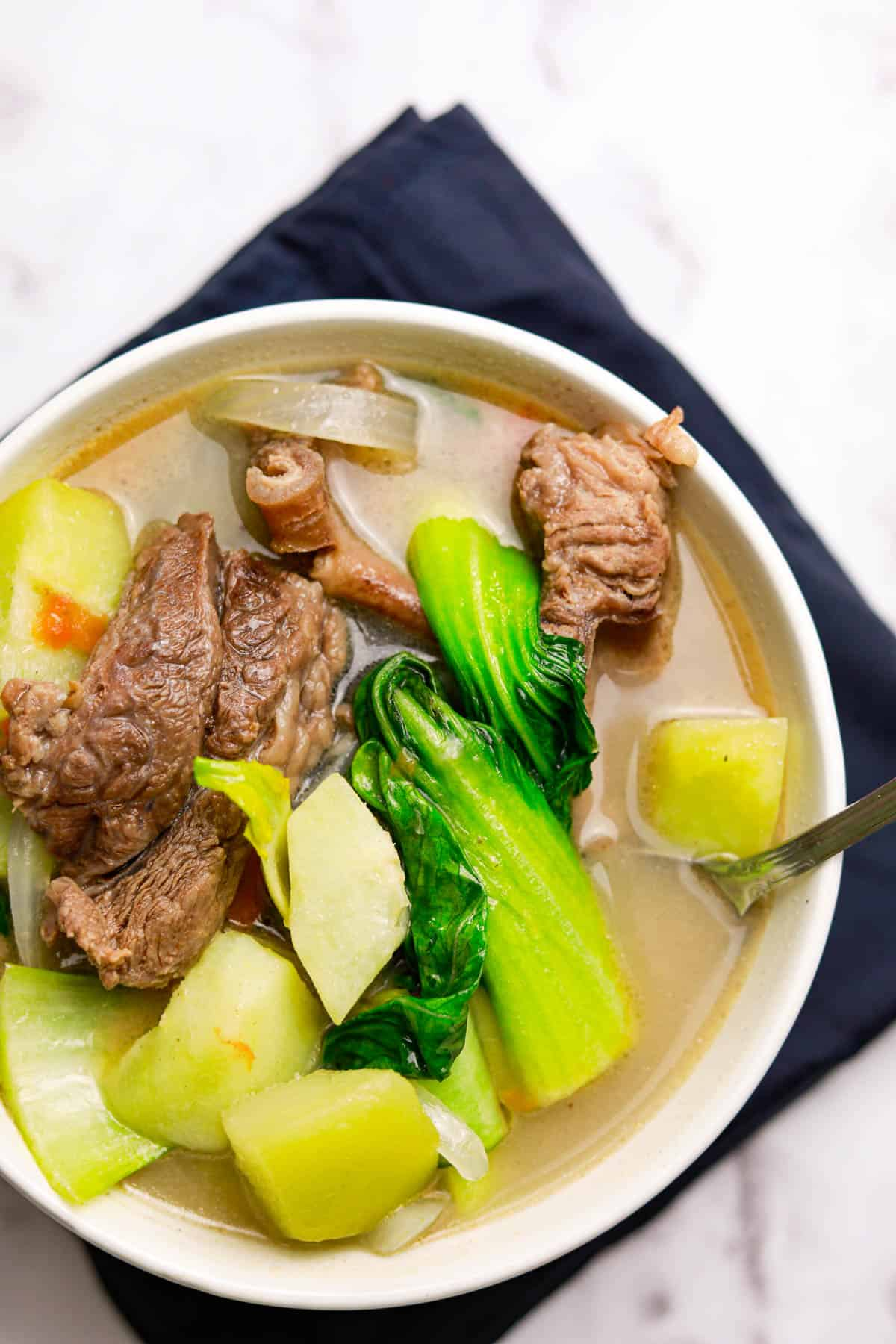 Beef Ribs Sinigang with Lemon Juice is a sour beef soup. Usually, the tamarind is used for making the sour broth. I am using lemon juice with this recipe instead. Sinigang is a famous Filipino soup you may like to try. via @seasiderecipes