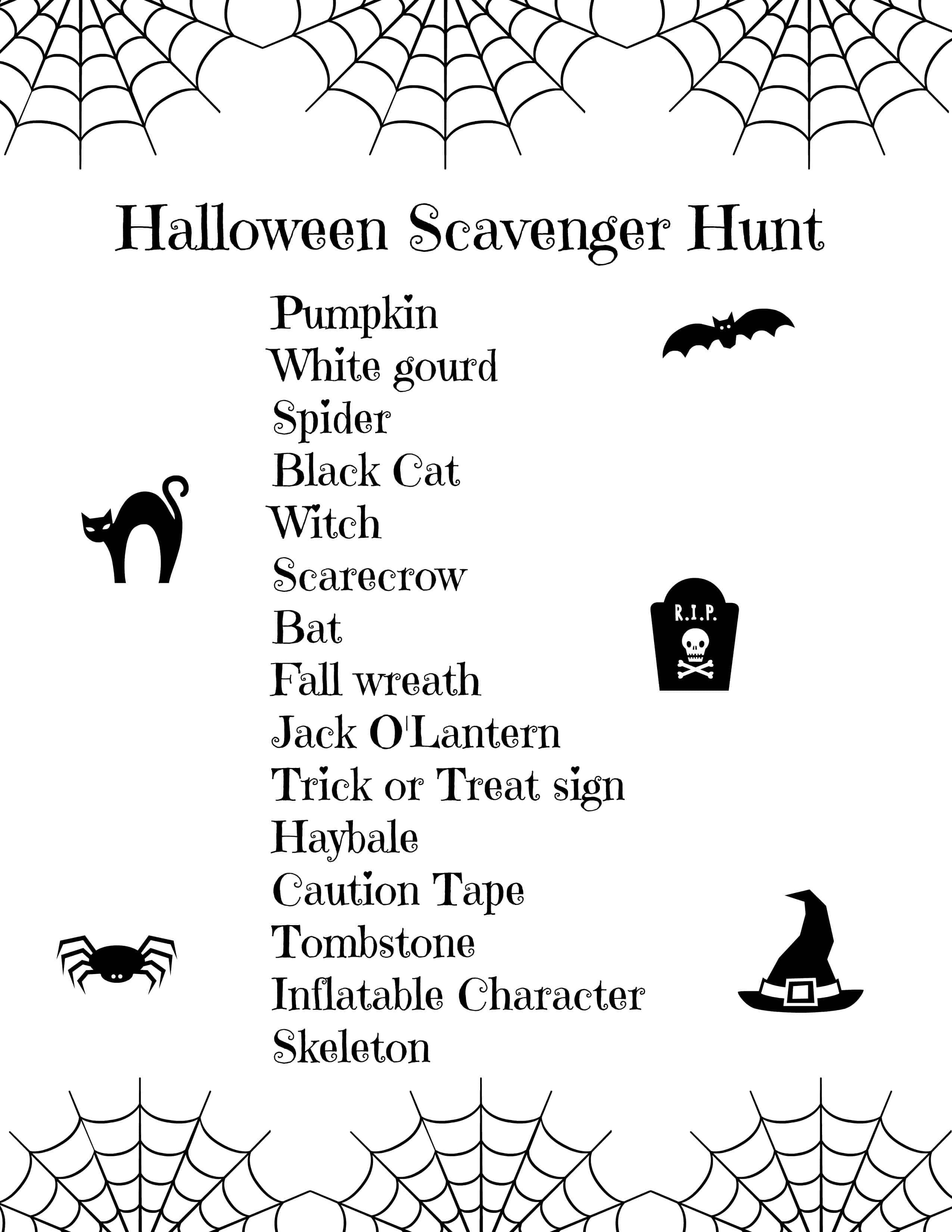 Halloween Scavenger Hunt For Kids Free Printable