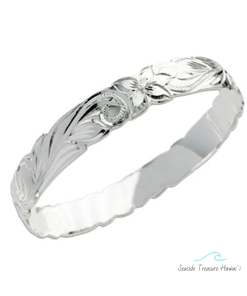 silver scroll hawaiian bangle 10mm