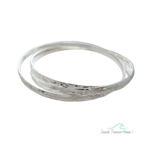 triple silver hawaiian bangle