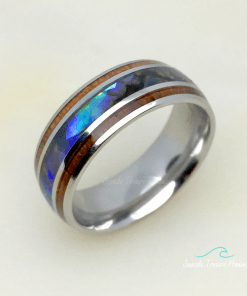 koa wood ring abalone inlay