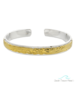 maile silver gold bangle