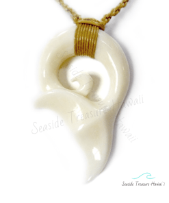 hand carved whale tail necklace