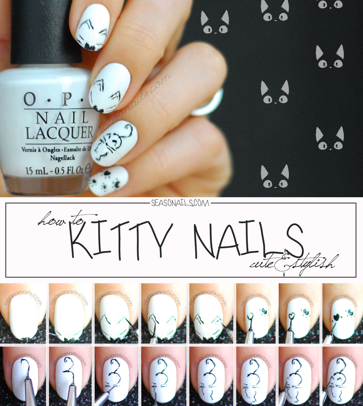 How To Kitty Nails Cat Nail Art Tutorial Step By