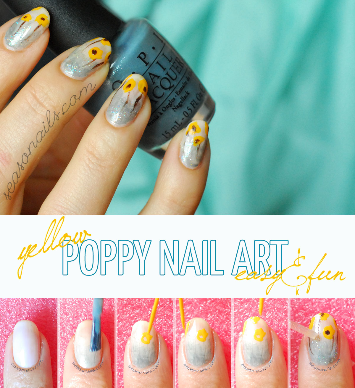 Flowers Nails Easiest Poppies Nail Art Seasonails How To Poppy Spring Summer Tutorial Prinsesfo