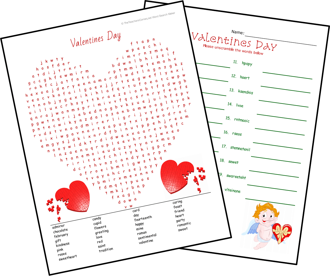 Valentine S Search Worksheet