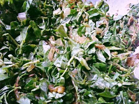 Fry Fenugreek leaves for methi aloo masala recipe