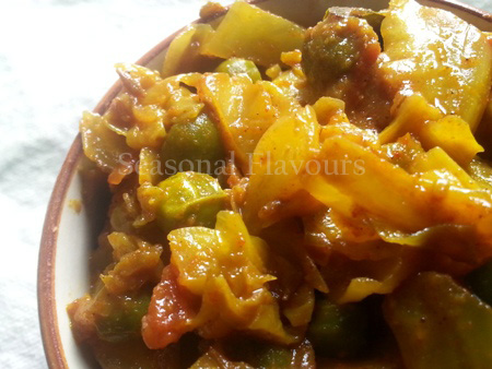 Cabbage Potato And Peas Fry Recipe