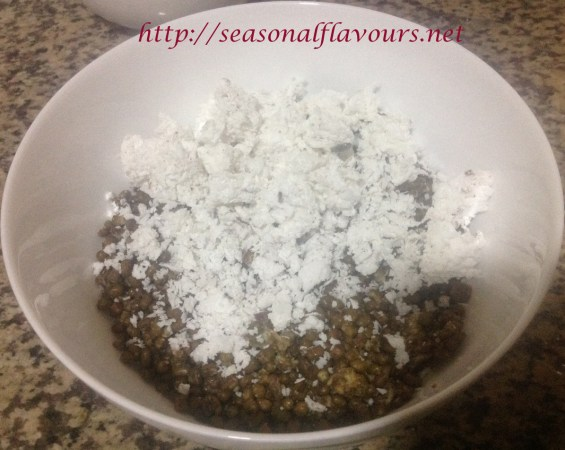 Add grated coconut to green gram for Kerala sweets recipe
