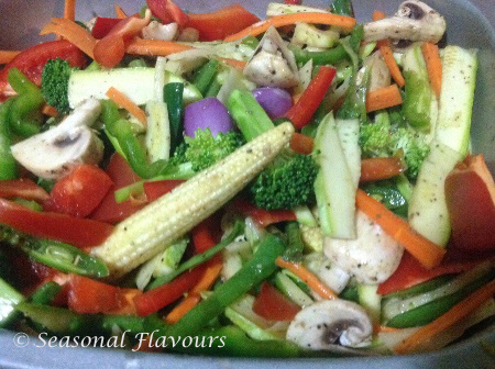 Seasoning for healthy oven-baked mixed vegetables