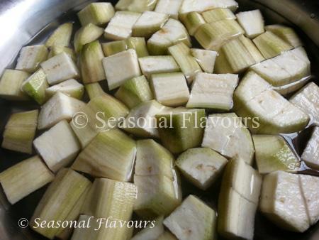 Cut banana pieces for Aratikaya Fry Andhra Style