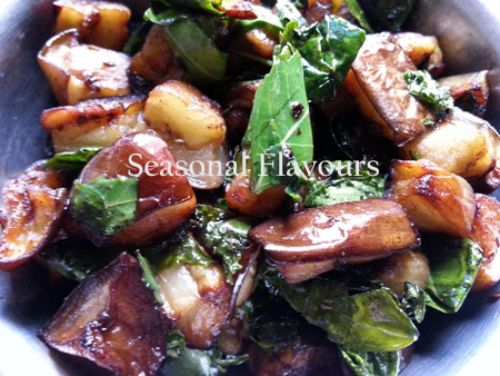 Neem Begun Bhaja – Brinjal And Neem Leaves RecipeMix begun and