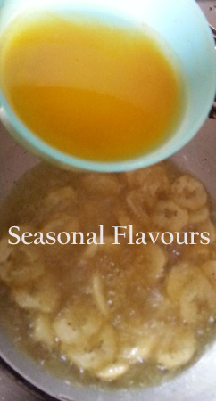 Add the salt and turmeric solution to the chips for upperi recipe