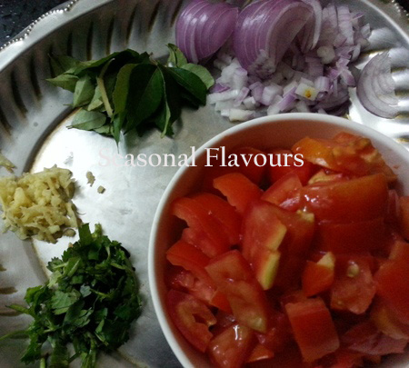 Ingredients for tomato masala rice recipe