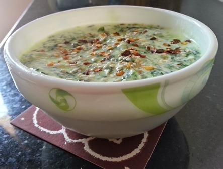 spinach yogurt raita recipe