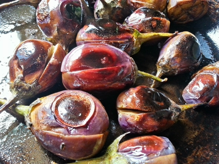 roasted aubergines for baingan bagara recipe