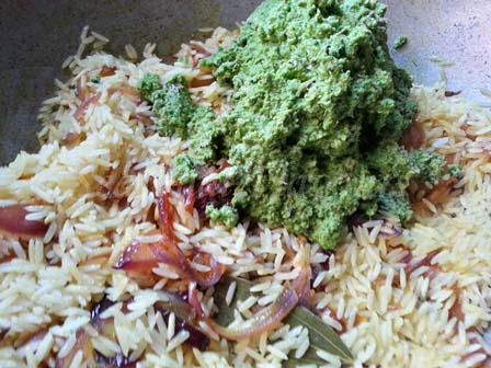 Mix in masala with rice for Coriander leaves rice