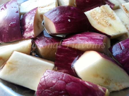 sliced eggplant for eggplant fry recipe