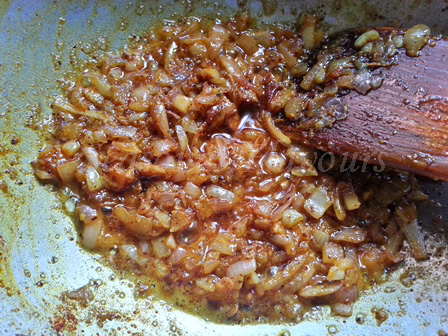 Saute onions for mustard fish curry recipe