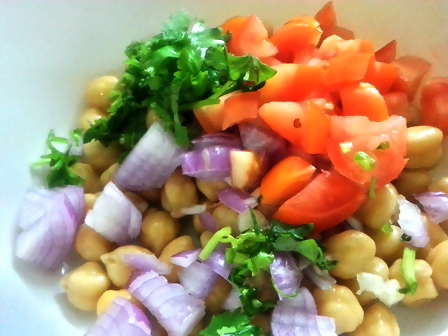 mix ingredients for garbanzo bean salad recipe