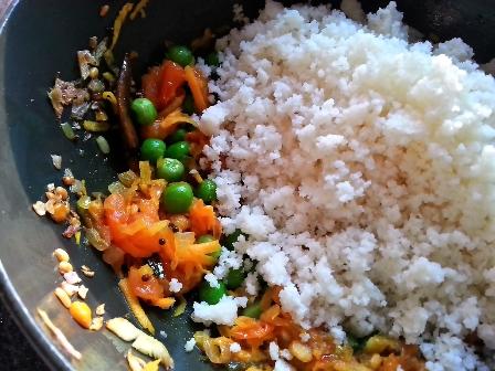 Combine crumbled idlis with upma ingredients for idli upma recipe