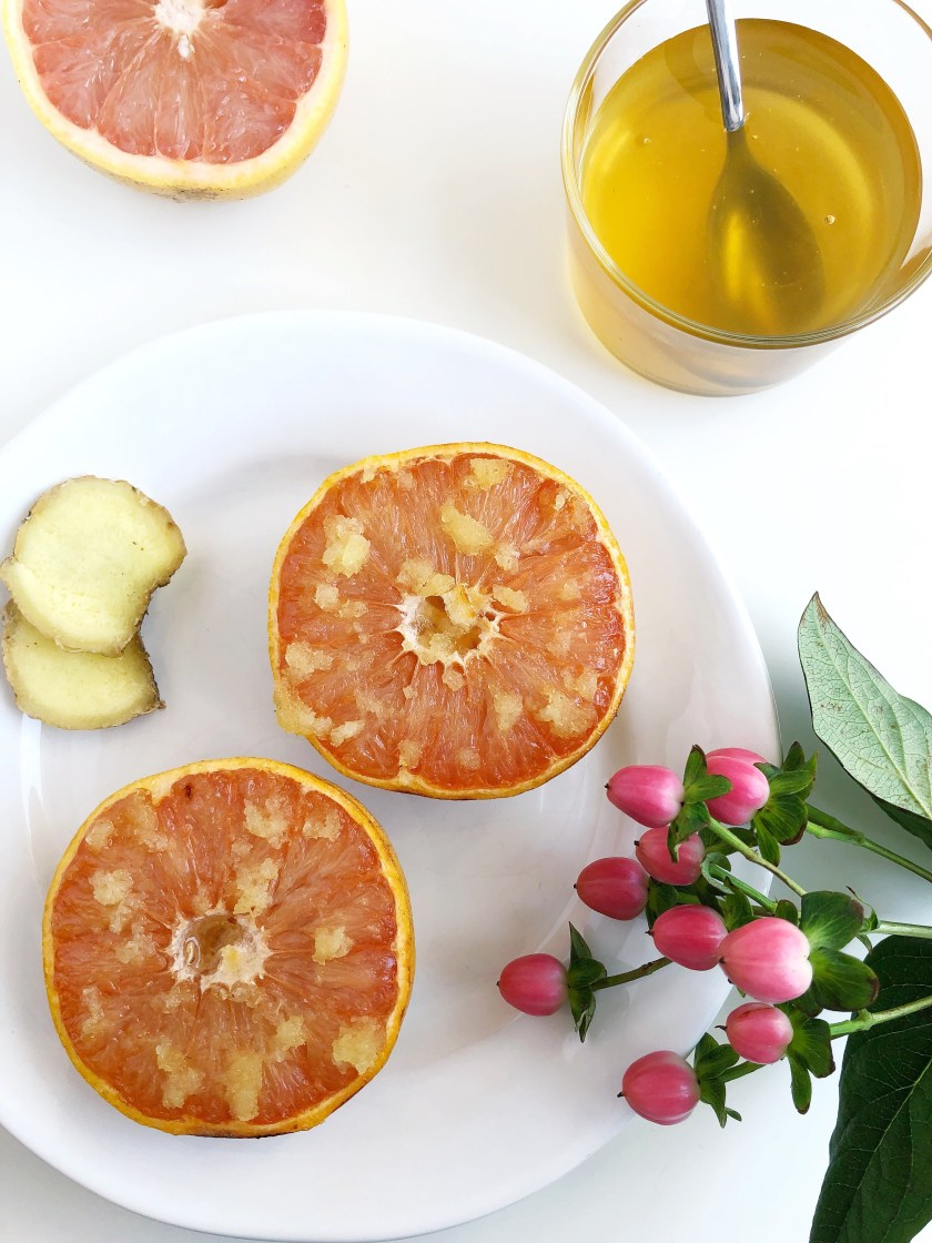 Broiled Grapefruit with Ginger and Honey