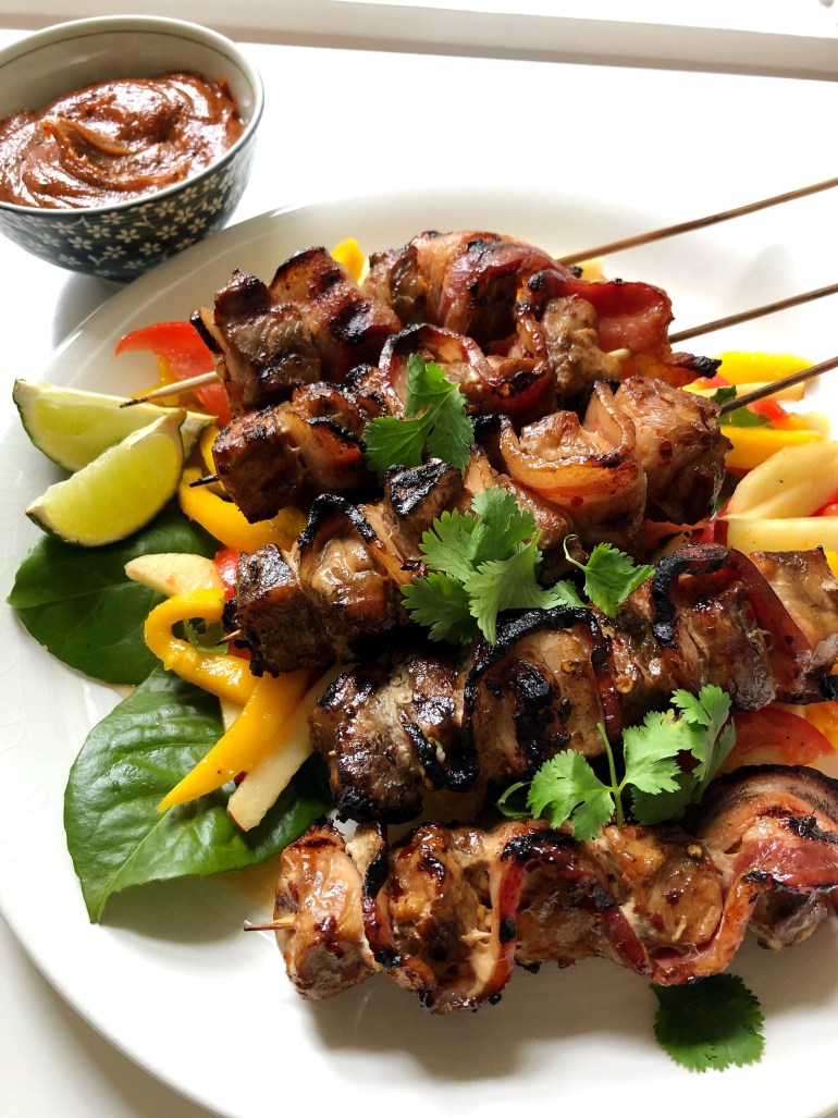 Pork & Bacon Skewers with Peanut Dipping Sauce and Mango Salad