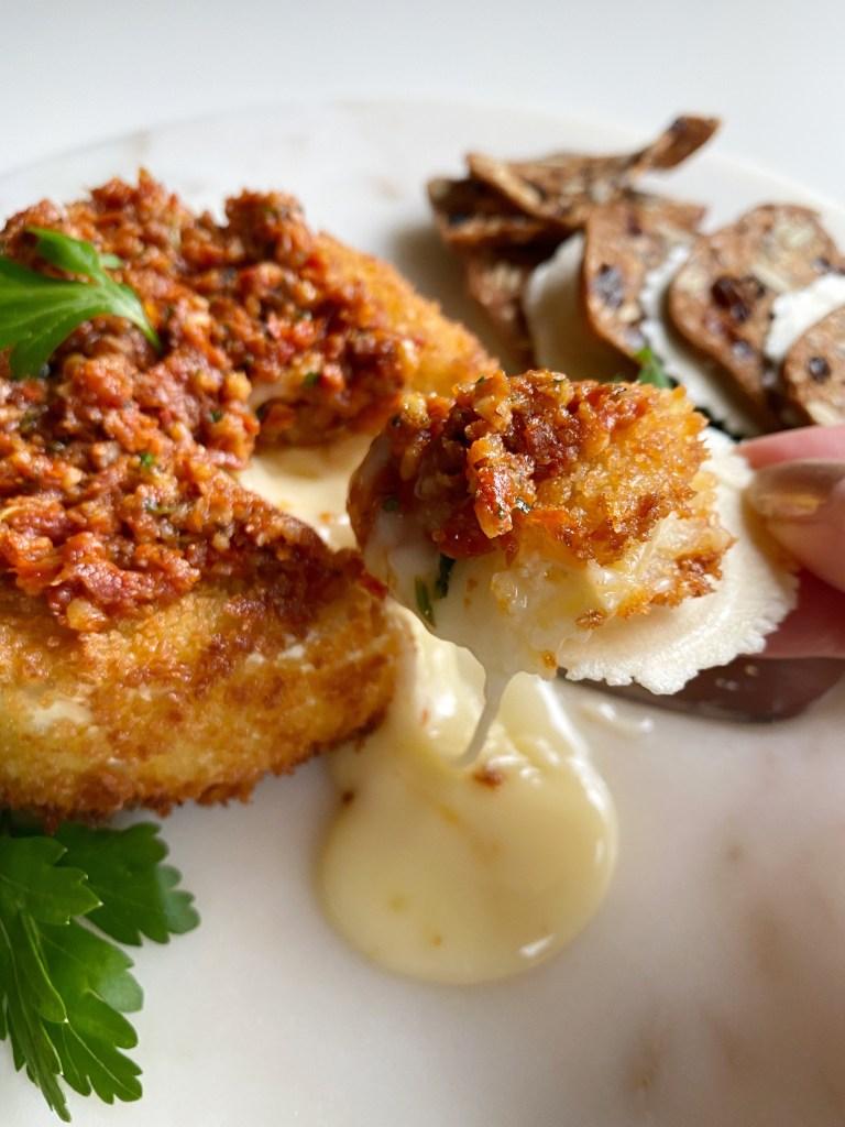 Fried Brie with Sundried Tomato Pesto - Season and Serve Blog