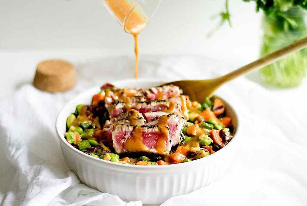 crunchy chopped salad with sesame crusted ahi tuna