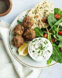 Harissa Lamb Meatballs with Garlic Mint Yogurt