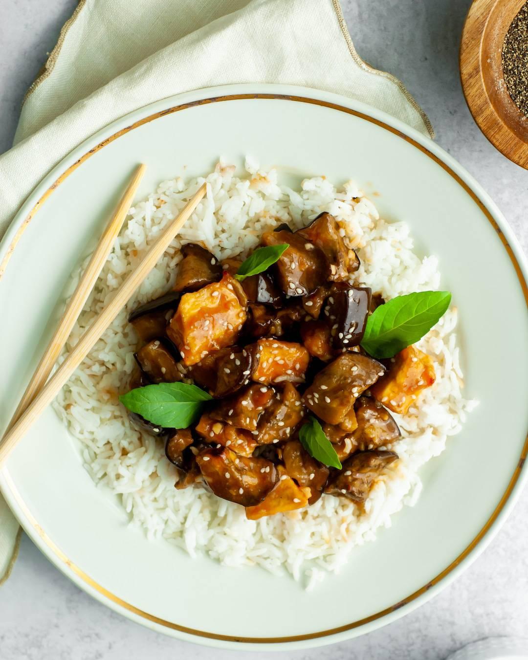 Sticky Miso-Sesame Glazed Eggplant & Tofu