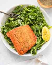 Kale Salad with Pan-Seared Salmon and Creamy Avocado Dressing
