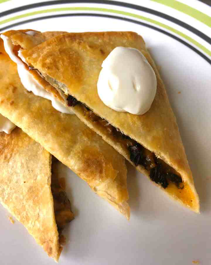 Sheet pan quesadillas mushroom and swiss chard