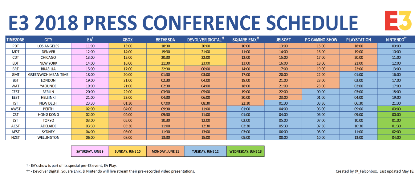 Full Schedule with Time Zones