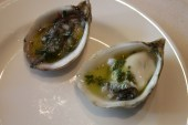 serrano lime mignonette (left) and rosé mignonette for the oysters